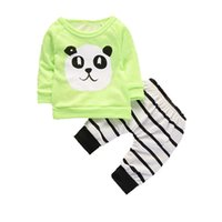 Wholesale panda clothes summer online - 2018 Fashion Baby Clothing Kids Newborn Boys Girls Long Sleeve Panda T shirt Striped Pants Infant Clothes Outfits Tracksuits