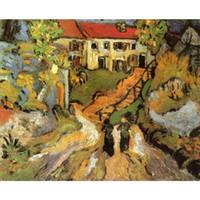 деревенская настенная живопись оптовых-Холст искусства ручная роспись маслом по Vincent Van Gogh Village Street и шаги в овер с двумя фигурами живопись для декора стен