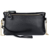 hand bag straps UK - Genuine Leather Women Day Clutches with Hand Rope and Metal Shoulder Strap 2018 New Arrivals Women Small Bags Hot Lady Handbags