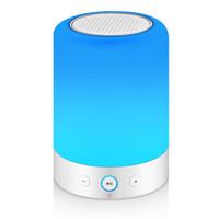 luces cambiantes de humor al por mayor-Toque la lámpara de cabecera con altavoz Bluetooth, regulable, lámpara de mesa blanca cálida, color RGB que cambia la luz del estado de ánimo del altavoz LED, luz nocturna