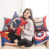 karikatür süpermen kapağı toptan satış-2017 Avengers Yastık Kılıfı Karikatür Yastık Kılıfı Superman Wade Baskılı Minder Kapak Pamuk Keten Yastık Kapak Xmas Hediye