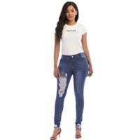 amerikanische jeans für frauen großhandel-2018 neueste Art und Weise der europäischen und amerikanischen Art elastische Jeans zerrissene Frauendamen-Jeanshose freies Verschiffen
