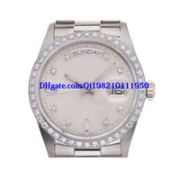 relógios a quartzo diamante venda por atacado-Presente de natal relógio de luxo dos homens dos homens relógios relógio de pulso mechanisch automatism white diamond dial relógio automático