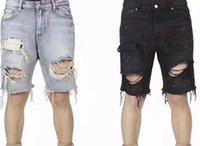 nouveau short en jean pour hommes achat en gros de-2018 NOUVEAU Justin Bieber Big Ripped Détruit Distressed hommes Denim Shorts HipHop kanye west Casual trou Jeans Shorts S-XXL