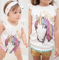 Wholesale white romper baby shirts for sale - Group buy Baby Girls cotton unicorn tassel Romper Summer Cartoon Infant Bodysuit Summer Unicorn Printed ponpon tassel Toddler T shirt Newborn Tops