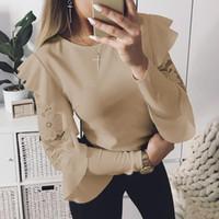 ingrosso lunghe parti di lavoro-Camicetta patchwork di pizzo Elegante lavoro Ruffle Blusas Mujer manica lunga da donna Top Camicia casual da donna WS5317X