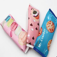 Wholesale Fun Shapes - Korea Fun Macaron Cookies Pencil Bags Creative Stationery Students Snack Pencil Case Give to Children Birthday Gift