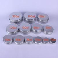 Wholesale cosmetic packaging aluminium - 10 Size Empty Aluminium Cosmetic Containers Pot Lip Balm Jar Tin Hand Cream Packaging Box Makeup Empty Lip Gloss Jars