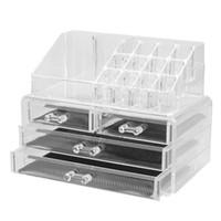 Wholesale acrylic clear makeup drawer organizer resale online - Acrylic Clear Makeup Organizers Holder Cosmetic Storage Box Make Up Case Drawer Lipstick Display Stand Makeup Tools