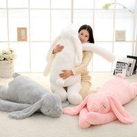 Wholesale kawaii deco - Dorimytrader Kawaii Long Ear Bunny Plush Toy Big Soft Animal Rabbit Stuffed Dolls Pillow for Children Gift Wedding Deco 47inch 120cm DY60395
