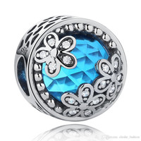 blue glass beads flowers 2018 - EVOJEW 925 Sterling Silver Charm Beads Carved Heart Blue Glass With White CZ Flower Beads Fit Pandora Charm Bracelets&Bangles Making