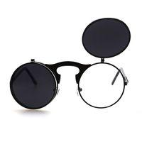 lunettes de soleil flip achat en gros de-Flip Up Lunettes de soleil Steampunk Hommes Ronde Vintage Lunettes de soleil Hommes Marque Designer Lunettes de mode