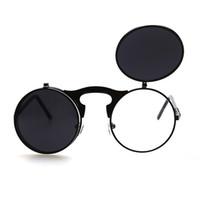 yuvarlak steampunk güneş gözlüğü toptan satış-Flip Up Steampunk Güneş Gözlüğü Erkekler Yuvarlak Vintage Erkek Sunglass Marka Tasarımcısı Moda Gözlük