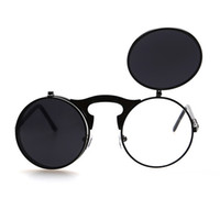 fashion sunglass al por mayor-Flip Up Steampunk gafas de sol Hombres Ronda Vintage Mens Sunglass Brand Designer Fashion Glasses