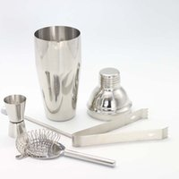 Wholesale icing tool kit - 5pcs Stainless Steel Cocktail Shaker sets Filter Ice Clip Measuring Cup swizzle sticks Bartender wine Drink Mixer Kit Bars Tools