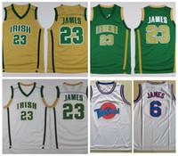 basketbol forması james toptan satış-Vincent St. Mary Lisesi İrlanda LeBron James Formalar # 23 Yeşil LeBron James Ayar Kadro Uzay Reçel Dikişli Vintage Basketbol Gömlek