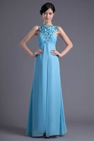 Wholesale embroidery designer occasion dresses for sale - Chiffon Long Prom Dresses Real Image Crew Neck Ruched Lace Embroidery Formal Party Floor Length Evening Dresses ZPT026