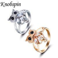 ingrosso anelli nuziali del gufo-Chic Animal CZ Anelli per donna Oro / Argento Colore Wedding Band Carino Owl anelli Charms anel Cristalli Gioielli di alta qualità