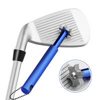 apontador do sulco do golfe venda por atacado-GOLDBALL Golf Club Groove Sharpener Ferramenta com 6 Cortadores de Trincheira limpador Wedge Iron Golf Club Regrooving Ferramenta Afiador Limpo