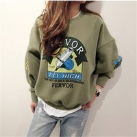 Wholesale funny tracksuit - 2017 Winter Autumn New Harajuku Funny Cartoon Tracksuit For Women Pullover Fleece Hoodies Loose Female Sweatshirt Army Green 2xl