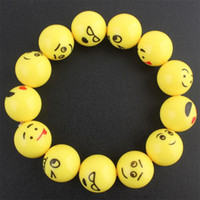 ingrosso anello giallo della resina-Emoji Expression Braccialetto volto sorridente Bambini mano anello ornamenti Giallo Lovely Resina Elastico Mano catena cinghia 2qb gg