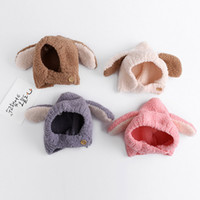 ingrosso pulsante chiudere-Baby Head Caps 1-3 T Cartoon Orecchie Aspetto Button Chiudi Cappelli caldi Solid Wool Plush Cold Prevention Winter Dome Knitted All-match Cappelli