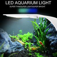 lámpara crecer al por mayor-Super Slim LED Aquarium Light plantas de iluminación Grow Light 5W / 10W / 15W Planta acuática Iluminación impermeable Clip-on lámpara para pecera