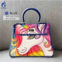 tote shoulder bag hand Australia - Women Cow Leather Handbag Hand Painted Horse Little Pony Shoulder Bag High Quality Casual Totes DIY Top-Handle Bag Free shipping