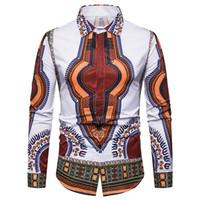 patrones de batik africano al por mayor-Camisa Dashiki de los hombres Patrón Africano Retro Hombres Camisa de invierno de manga larga Slim Fit Turn Down Collar Étnico Camisas W81JK
