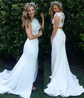 Wholesale Mermaid Chiffon - 2018 Summer Beach Boho Mermaid Two Pieces Wedding Dresses Bohemian Lace Appliques Long Custom Made Bridal Gowns Buttons Back Front Split