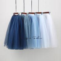 Wholesale womens pink ball gown - 7 Layered Tulle Skirts Womens High Waist Swing Dolly Ball Gown Underskirt Mesh Tutu 2017 Summer Midi Skirt Faldas Saias Jupe