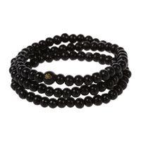 buddha holzkette großhandel-108 Stücke 6 * 530mm schwarz Holz Buddha Perlen lange Halskette Buddhismus Strand Kette Mala Armband Schmuck