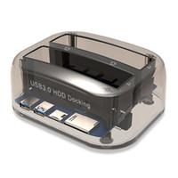 Wholesale sata drive dual dock for sale - Group buy USB to SATA Dual Bay External Hard Drive Docking Station for Inch HDD SSD Hard Drive Duplicator Plug Play