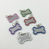 colliers personnalisés pour animaux de compagnie achat en gros de-30 pcs / lot Creative mignon en acier inoxydable os en forme de bricolage chien pendentifs carte tags pour personnalisé colliers accessoires pour animaux de compagnie