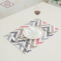 Wholesale 1lot pc - LongShow 1Lot 4 Pcs 30x45cm Modern Elegant Soft Colourful Waves Short Plushed Fabric Placemats For Dining Table Decoration