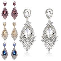 Wholesale rhinestone chandelier wedding earrings - Diamond Crystal Tassel Earrings Studs Glass Tassel Drop Dangle Earrings Wedding Jewelry Gift for Women Fashion Drop Shipping