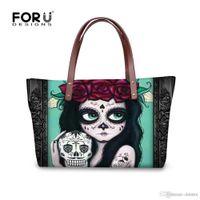 ingrosso sacchetti di cranio grandi-All'ingrosso-FORUDESIGNS New 2016 Women Skull Handbag Designer Luxury Brand Tote Bags Womens Clutch Handbag Famoso Skull 3D Beach Big Bag