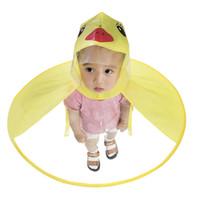 ingrosso cappotto giallo cappotti-CUTE CARTOON ANATRA BAMBINI UMBRELLA Impermeabile UFO giallo FORMA PIOGGIA CAPPELLO CAPO PIEGHEVOLE Impermeabile Cappotto per bambini