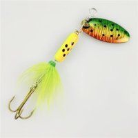 Wholesale freshwater fish bass - Sequin Spoon Metal wobble Fishing Lures Spinner Baits CrankBait Bass wobbler Tackle Hook for perch mandarin fish striped Catfish