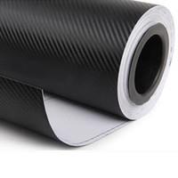 interior de vinilo de fibra de carbono negro al por mayor-2X 127 cm x 50 cm 3D de fibra de carbono Vinilo Negro Hojas WRAP Rollo Interior del coche Decoración Interior Etiqueta Engomada del coche Accessoriess Nuevo
