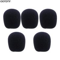 ön cam köpük örtüsü toptan satış-Toptan-5 ADET Siyah Mikrofon Kulaklık Köpük Sünger Wind Mic Kapak-L060 Yeni sıcak