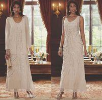 boncuklu şifon ceketi elbisesi toptan satış-Zarif V Boyun Şifon anneler Elbiseler İki Adet Boncuklu Düğün Konuk Ayak Bileği Uzunluk Anne Uzun Kollu Ceket Ile Gelin Elbiseler