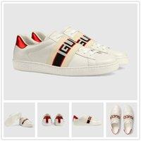 deri dövmeli toptan satış-Yeni lüks rahat ayakkabılar yüksek dereceli beyaz ayakkabılar rahat erkekler ve kadınlar arı kaplan dövme nakış üst tasarımcı deri malzeme.