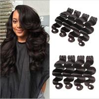 Wholesale malaysain hair weave resale online - 4 Bundles Malaysain Body Wave Full Head Unprocessed Virgin Remy Human Hair Weaves Extensions Natural Black Color