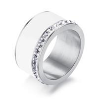 klobige ringe für frauen großhandel-Bling Hochzeit Ringe für Frauen Shiny CZ Steine 11mm Chunky Edelstahl Elegante Prinzessin Cut Diamant-verlobungsringe Anel Schmuck