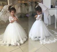 Wholesale yellow year birthday dress resale online - White Flower Girls Dresses for Weddings Half Sleeves Lace Tops A Line Appliques Tulle Lovely Little Girls Prom Dresses Age Years