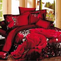 3d bedding set großhandel-3D Bettwäsche Set 4pcs (1 Bettbezug + 1 Bettlaken +2 Kissenbezüge) 100% Baumwolle Bettwäsche Set TYSDS-TY
