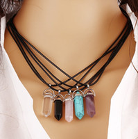 Wholesale Stainless Steel Neck Chains - Natural stone Necklaces Leather rope Crystal Chokers Sex Ladies Neck decoration Turquoise Pendant Necklace Silver Gold