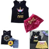 animal de traje dos desenhos animados venda por atacado-Ins 2018 Crianças Meninas Do Bebê Unicórnio Set Verão Dos Desenhos Animados Colete Top T-shirt Ternos de Lantejoulas Arco Traje Roupas Traje HH7-434