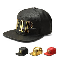 Wholesale black leather baseball caps mens resale online - New Fashion Snapback Mens Hip Hop VIP Baseball Caps PU Leather Casual Unisex Outdoor Hats Gold Black color Snapback free ship